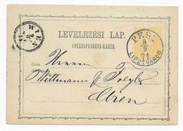Ungarn 1871 - Ganzsache / Postal Stationery  Pest Nach Wien - Covers & Documents
