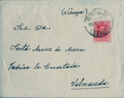 1925 , LA RIOJA , SOBRE CIRCULADO A VALMASEDA , MAT. ALCANCE - ESTACIÓN / LOGROÑO , LLEGADA - 1889-1931 Regno: Alfonso XIII