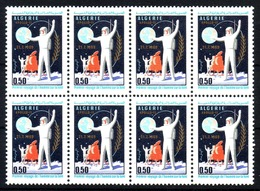 ALGERIA BLOK OF 8 MINTH ** STAMPS 1969 THE FIRST MAN ON THE MOON - Algeria (1962-...)