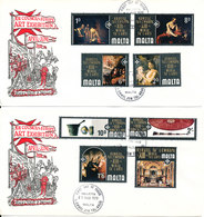 MALTA FDC 21-3-1970 COUNCIL OF EUROPE ART EXHIBITION Complete Set Of 8 On 2 Covers With Cachet - Malta