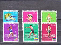 PARAGUAY 1969 JEUX OLYMPIQUES DE MEXICO Yvert 1000-1005 NEUF** MNH - Paraguay
