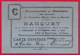 1924 Rare Carte D'Entrée BANQUET Inauguration Du Monument Des Enfants De CHAUMONT (52) Morts Pour La France - Tickets - Entradas