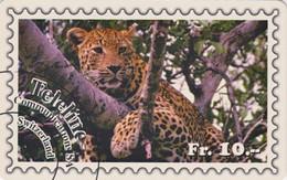 Télécarte Suisse Teleline - Série ANIMAL & TIMBRE - FELIN - PANTHERE - LEOPARD Feline & STAMP Phonecard  - 160 - Postzegels & Munten
