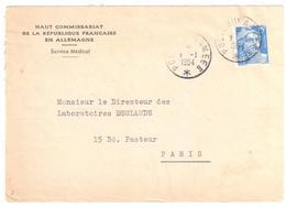 POSTE AUX ARMEES Lettre Entête Haut Commissariat République Française En Allemagne 15 F Gandon Yv 886 Ob 9 1 1954 - Marcophilie (Lettres)