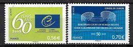 France 2009 Service N° 142/143 Neufs Conseil De L'Europe à La Faciale - Servizio
