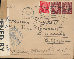 IRAN WWII INTERESTING CENSORED COVER FROM TEHRAN BRITISH LEGATION VIA LONDON TO BRUSSELS APRIL 1940 - Iran