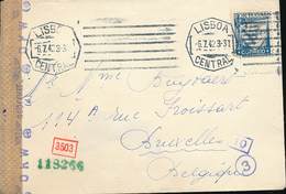 PORTUGAL WWII CENSORED COVER FROM LISBOA 1942 TO BRUSSELS - 1910-... République