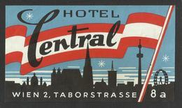 WIEN Hotel CENTRAL Luggage Label - 14 X 8 Cm (see Sales Conditions) - Etiketten Van Hotels