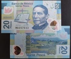 MEXICO 2020 $20 JUAREZ POLYMER Banknote Series AF Sub. M Mint Crisp, Scarce Thus - Mexico