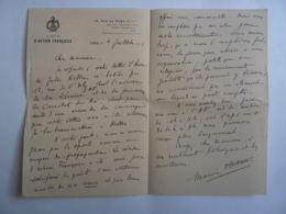 AUTOGRAPHE  Emblème  LIGUE D'ACTION FRANCAISE 1921  JAN 2020 GERA  ALB - Autographes