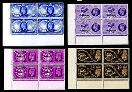MOROCCO AGENCIES-Tangier 1949 UPU OVPT.CORNER 4-BLOCKS:4 - UPU (Universal Postal Union)