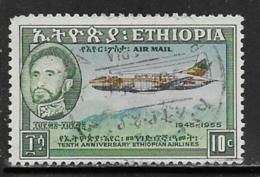 Ethiopia Scott # C38 Used Plane Over Mountains, 1955 - Ethiopia