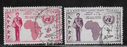 Ethiopia Scott # C61, C63 Used Map. UN Emblem, 1958 - Ethiopia