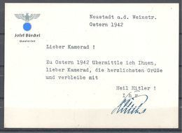 1942 Carte Du Gauleiter Bürckel Pour Les Fêtes De Pâques - 1939-45