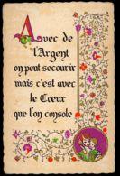 CPA THEME CITATION AVEC DE L'ARGENT ON PEUT SECOURIR... 1987 MODELE DEPOSE ROUSSEL ROUEN A.B - Other