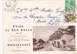 """MONTBENOIT """"hotel Du Bon Repos """" ,pas Vraiment Une Carte Postale,plutot Publicité De L'hotel - Francia"""