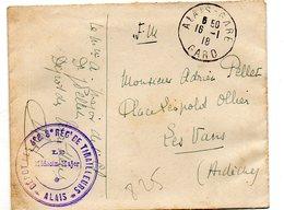 825  1918  FM Alais Gard 4e Et 8e Regts De Tirailleurs - Military Postmarks From 1900 (out Of Wars Periods)