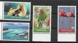BAHAMAS, 2019, MNH, NATIONAL TRUST, BIRDS, PARROTS, FLAMINGOS, SHELLS, 4v - Fenicotteri