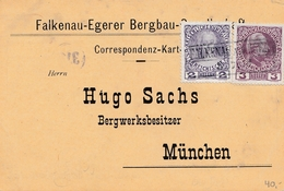 Bergbau: Falkenau-Egerer Bergbau Ges. Eger, 1908 Nach München - Deutschland