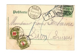 Ansichtskarte Frankfurt/M,Untermainbrücke, 1904 Nach Sion/CH Mit Nachgebühr/Taxe - Alemania
