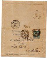 J118  Carte Lettre 1898 Sage 15 Cts - Biglietto Postale