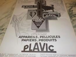 ANCIENNE PUBLICITE APPAREILS PELLICULES PLAVIC   1927 - Fotografia