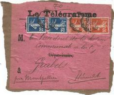 SEMEUSE 25C BLEU FONCEX2+10CX2 ETIQUETTE LE TELEGRAMME OBL CONVOYEUR ?? CETTE 191? - 1906-38 Semeuse Con Cameo