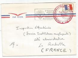FM DRAPEAU LETTRE AVION TANANARIVE 1972 MADAGASCAR + CACHET ROUGE FORCES FRANCAISES OCEAN INDIEN - Militärpostmarken