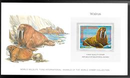 GUINEE EQUATORIALE 1977 SUPERBE CARTE COLECTION WWF WARLUS  MORSE Avec Timbre N° 108-D Neuf **sans Charnière / MA06 - Guinée Equatoriale