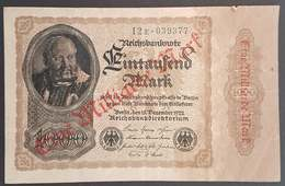 FA - Germany 1922 1000 Mark SURCHARGED 1000000 Mark / One Million Mark Banknote 12E - 039377 - 1 Million Mark
