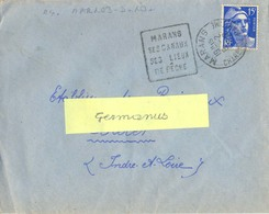 DAGUIN MARANS CHARENTE MARITIME 6-2-1952 MARANS / SES CANAUX / SES LIEUX / DE PÊCHE - Mechanical Postmarks (Advertisement)