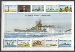 PK234 TANZANIA WORLD WAR 2 BRITISH IN THE PACIFIC THEATRE OF WAR BATTLE OF JAVA SEA 1KB MNH - Guerre Mondiale (Seconde)