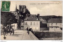 MONTRICHARD Le Pont Et Le Donjon -Attelage -  Carte écrite En 1913  2 Scans  TBE - Montrichard