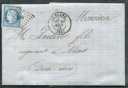 FRANCE - INDRE - N° 60A OBL. PC DU GC N° 490 DE LE BLANC LE 20/8/1872 POUR NIORT - TB - 1849-1876: Klassik