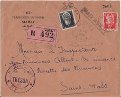 NIGER YT SERVICE YT N°3 ET 8 OBLITERES SUR LETTRE RECOMMANDEE POUR LA FRANCE - Niger (1921-1944)