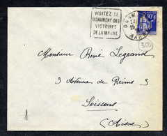 MAURY N° 368: S/LSI  - 1938  - OM DAGUIN- (DEPT De La MARNE) DORMANS: VISITEZ LE MONUMENT DES VICTOIRES DE LA MARNE - Marcophilie (Lettres)