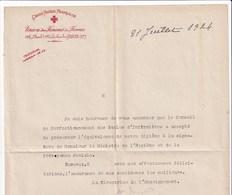 Document Croix Rouge Française Union Des Femmes De France Juillet 1924 - Documenten