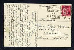 MAURY N° 370: S/CPE  SUISSE - 1939  - OM DAGUIN- (DEPT VAR): BANDOL SON CLIMAT ET SES PLAGES - Marcophilie (Lettres)