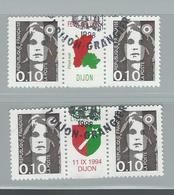Double Paire Timbre 2617 Bande Centrale DIJON Fête De La Vigne1994 - 1997-04 Marianne Of July 14th