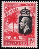 1922-1927. GAMBIA. __ Georg V. & Elefant. __1½ THREE HALF PENCE.  (Michel 95) - JF319341 - Gambia (...-1964)