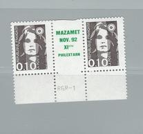 Double Paire Timbre 2617 Bande Centrale Marsannay La Côte - Vert - 1997-04 Marianne Du 14 Juillet
