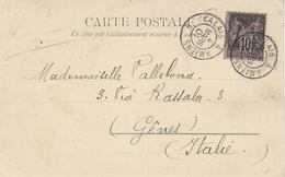 1901- C P A De Boulogne S/ Mer Affr. 10 C Sage Oblit. AMB  CALAIS A AMIENS  B - Storia Postale
