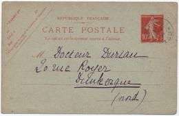 Entier Postal SEMEUSE Rare Oblitération Cachet Militaire BUREAU PAYEUR 19 Août 1914 + Texte Intéressant Sur Les Combats - Oorlog 1914-18