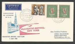 Aerophilatelie - Deutschland - Luftpost - 1958 - Erstflug Lufthansa LH414 Frankfurt-Brüssel -New York - [7] Repubblica Federale