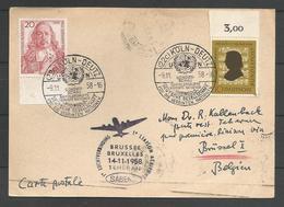 Aerophilatelie - Deutschland - Luftpost - 1958 - Erstflug Sabena Bruxelles-Teheran - Köln-Deutz Sondershau Reingold - Covers
