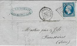1861 - Lettre  Cad AMB.  CALAIS A DOUAI  D  Affr. N°14 Oblit.  Los. C D - Marcophilie (Lettres)