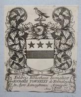 Ex-libris Héraldique XVIIIème - RICHARD TOWNELEY DE TOWNELEY - Ex-libris
