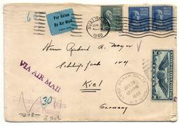 Avalon, California 1940 Nach Kiel - Brief, Luftpost, Zensur, Ohne Inhalt - 1921-40