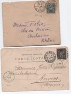 Lot Lettre + Carte Postale Type SAGE Avec Oblitération Cachet PARIS à Bloc Horaire 1900 Rues Grenelle Et Strasbourg TB! - Marcofilie (Brieven)