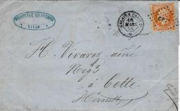 1858 - Lettre  Cad AMB.  CALAIS A  PARIS 2° Avec Rosace    Jour    Affr. N°16 Oblit.  Los.  C P 2° - Railway Post